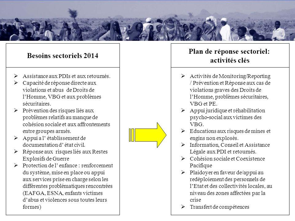 Besoins sectoriels 2014 Plan de réponse sectoriel: activités clés Assistance aux PDIs et aux retournés. Capacité de réponse directe aux violations et
