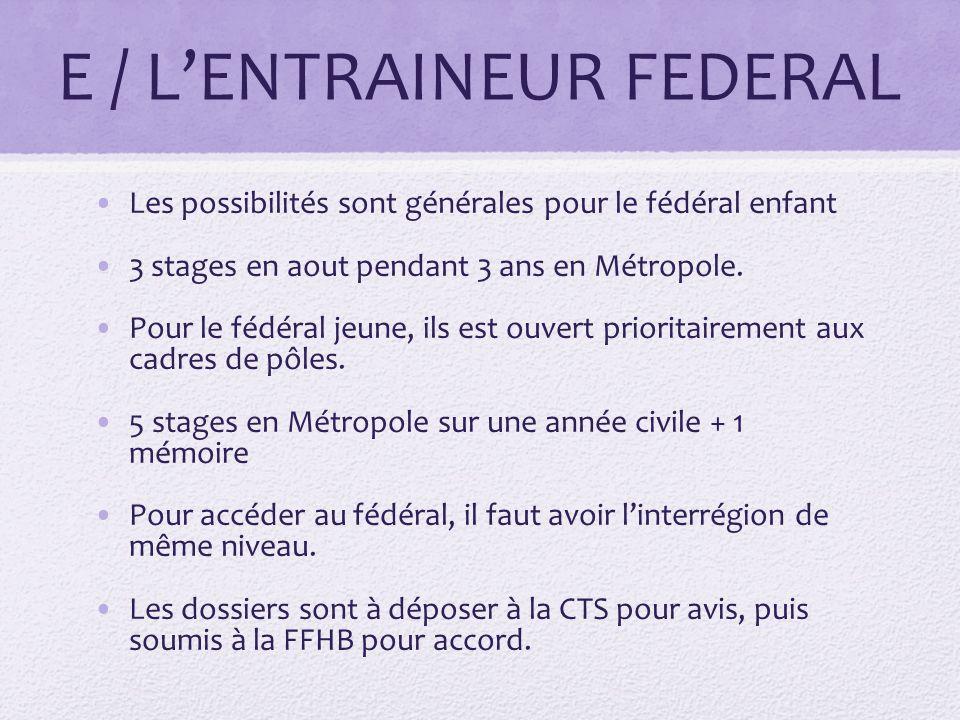 E / LENTRAINEUR FEDERAL Les possibilités sont générales pour le fédéral enfant 3 stages en aout pendant 3 ans en Métropole.