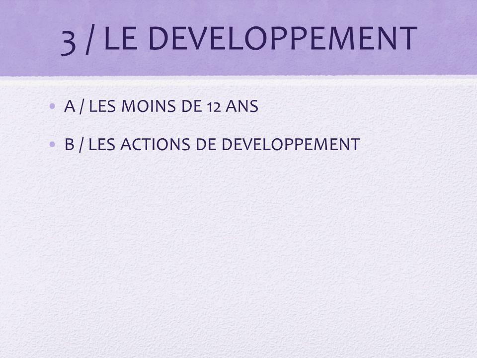 3 / LE DEVELOPPEMENT A / LES MOINS DE 12 ANS B / LES ACTIONS DE DEVELOPPEMENT