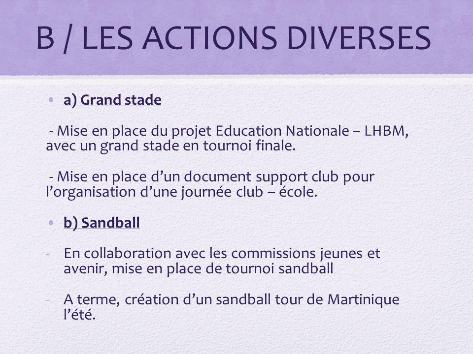 B / LES ACTIONS DIVERSES a) Grand stade - Mise en place du projet Education Nationale – LHBM, avec un grand stade en tournoi finale.