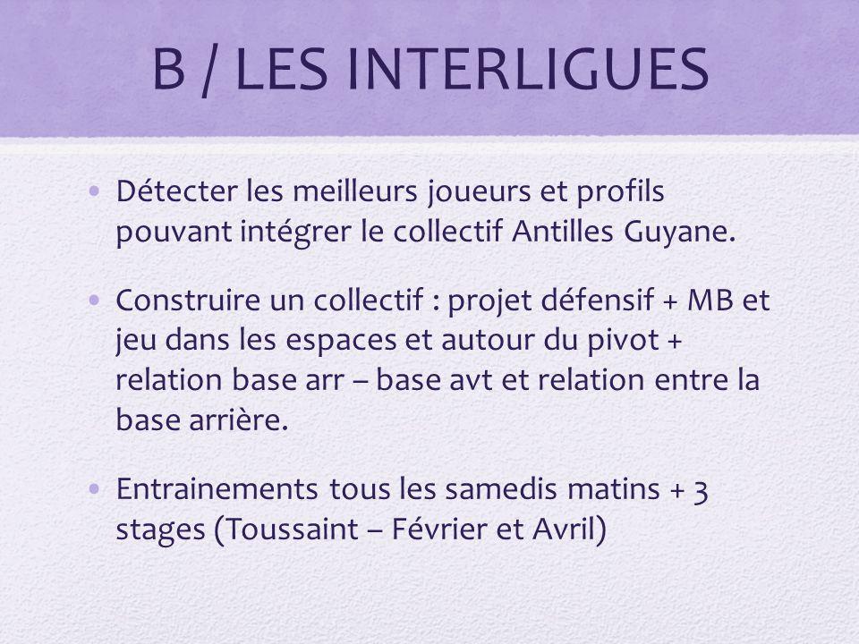B / LES INTERLIGUES Détecter les meilleurs joueurs et profils pouvant intégrer le collectif Antilles Guyane.