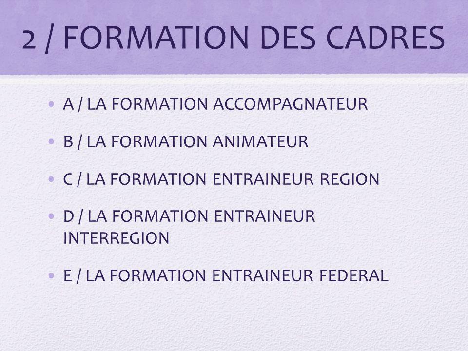2 / FORMATION DES CADRES A / LA FORMATION ACCOMPAGNATEUR B / LA FORMATION ANIMATEUR C / LA FORMATION ENTRAINEUR REGION D / LA FORMATION ENTRAINEUR INTERREGION E / LA FORMATION ENTRAINEUR FEDERAL