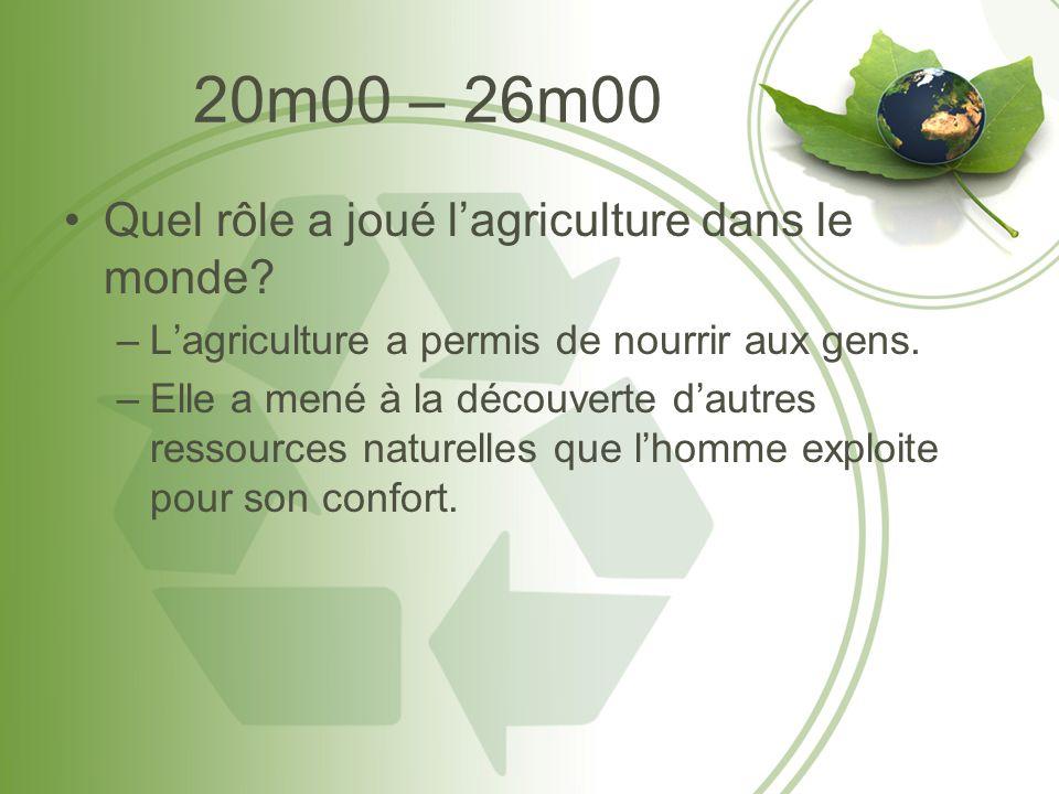 20m00 – 26m00 Quel rôle a joué lagriculture dans le monde? –Lagriculture a permis de nourrir aux gens. –Elle a mené à la découverte dautres ressources