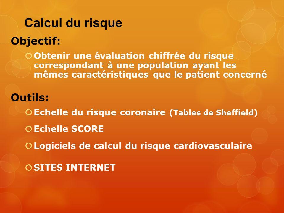 Calcul du risque Objectif: Obtenir une évaluation chiffrée du risque correspondant à une population ayant les mêmes caractéristiques que le patient co