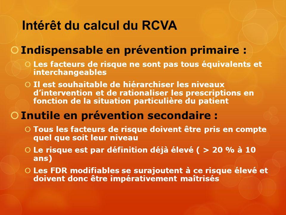 Intérêt du calcul du RCVA Indispensable en prévention primaire : Les facteurs de risque ne sont pas tous équivalents et interchangeables Il est souhai