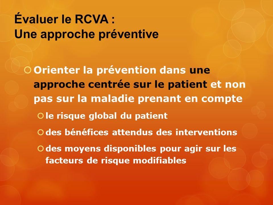 Évaluer le RCVA : Une approche préventive Orienter la prévention dans une approche centrée sur le patient et non pas sur la maladie prenant en compte