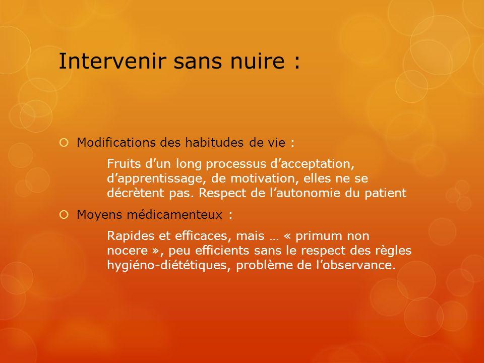 Intervenir sans nuire : Modifications des habitudes de vie : Fruits dun long processus dacceptation, dapprentissage, de motivation, elles ne se décrèt