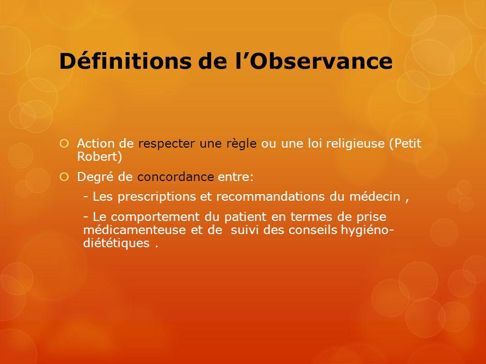 Définitions de lObservance Action de respecter une règle ou une loi religieuse (Petit Robert) Degré de concordance entre: - Les prescriptions et recom