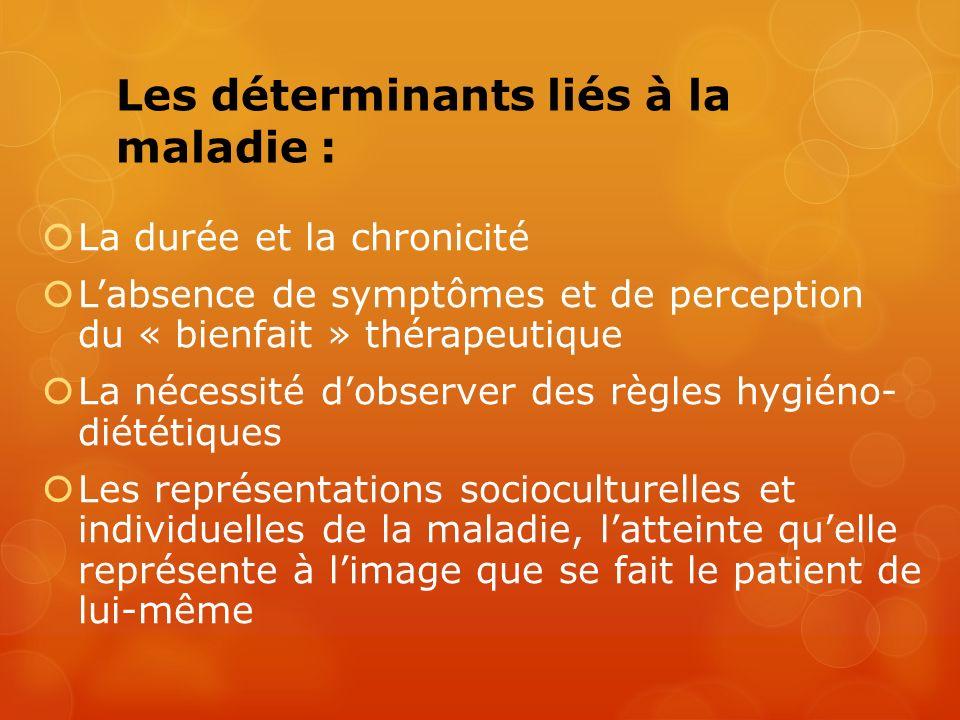 Les déterminants liés à la maladie : La durée et la chronicité Labsence de symptômes et de perception du « bienfait » thérapeutique La nécessité dobse