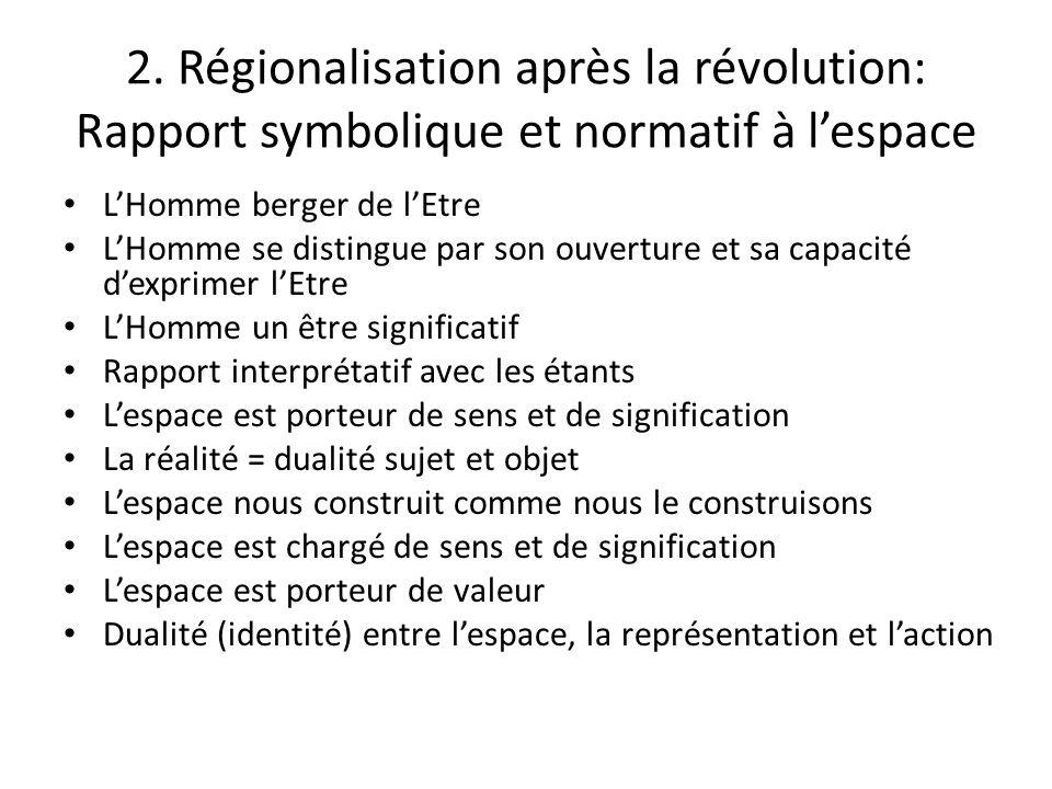 2. Régionalisation après la révolution: Rapport symbolique et normatif à lespace LHomme berger de lEtre LHomme se distingue par son ouverture et sa ca