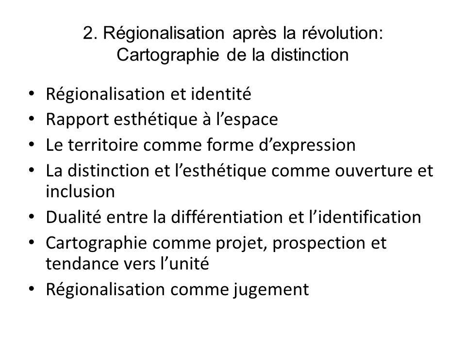 2. Régionalisation après la révolution: Cartographie de la distinction Régionalisation et identité Rapport esthétique à lespace Le territoire comme fo