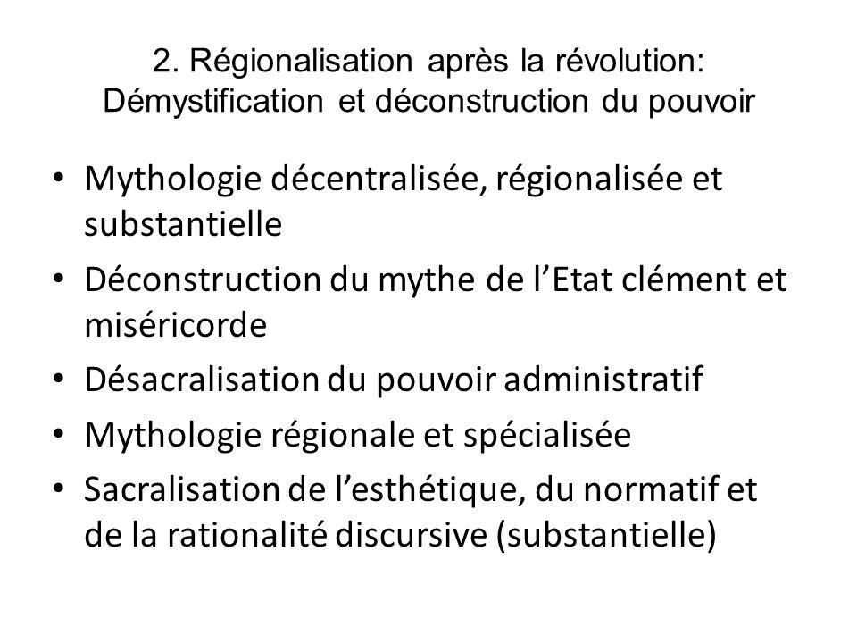 2. Régionalisation après la révolution: Démystification et déconstruction du pouvoir Mythologie décentralisée, régionalisée et substantielle Déconstru