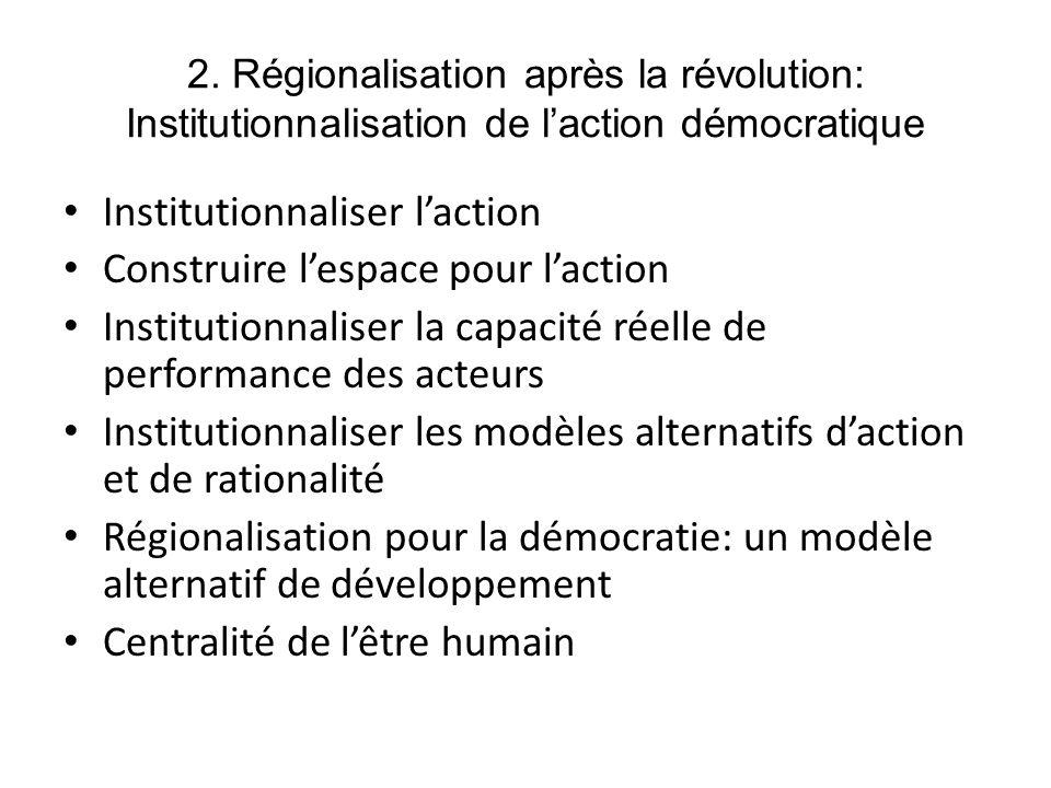 2. Régionalisation après la révolution: Institutionnalisation de laction démocratique Institutionnaliser laction Construire lespace pour laction Insti