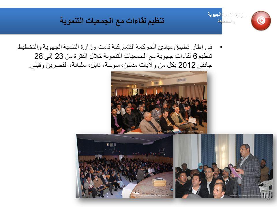 في إطار تطبيق مبادئ الحوكمة التشاركية قامت وزارة التنمية الجهوية والتخطيط تنظيم 6 لقاءات جهوية مع الجمعيات التنموية خلال الفترة من 23 إلى 28 جانفي 201