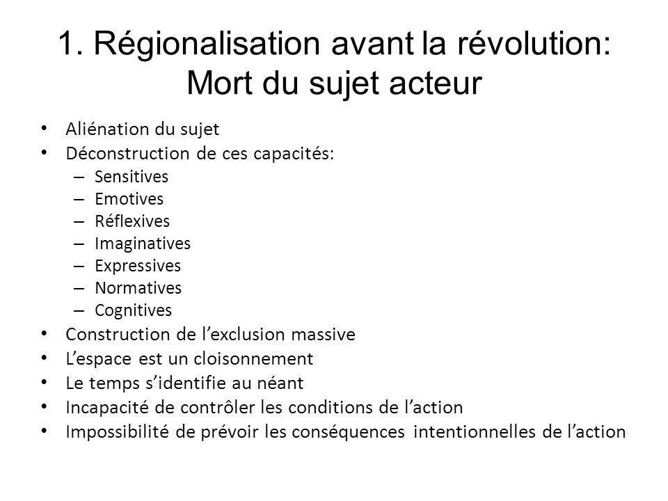 1. Régionalisation avant la révolution: Mort du sujet acteur Aliénation du sujet Déconstruction de ces capacités: – Sensitives – Emotives – Réflexives