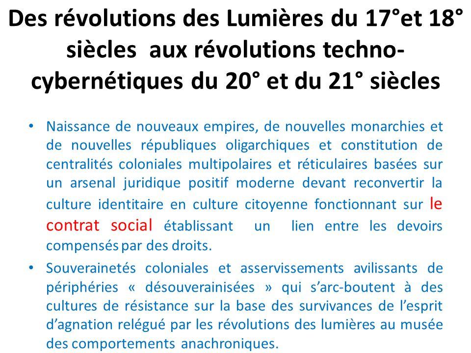 Des révolutions des Lumières du 17°et 18° siècles aux révolutions techno- cybernétiques du 20° et du 21° siècles Naissance de nouveaux empires, de nou