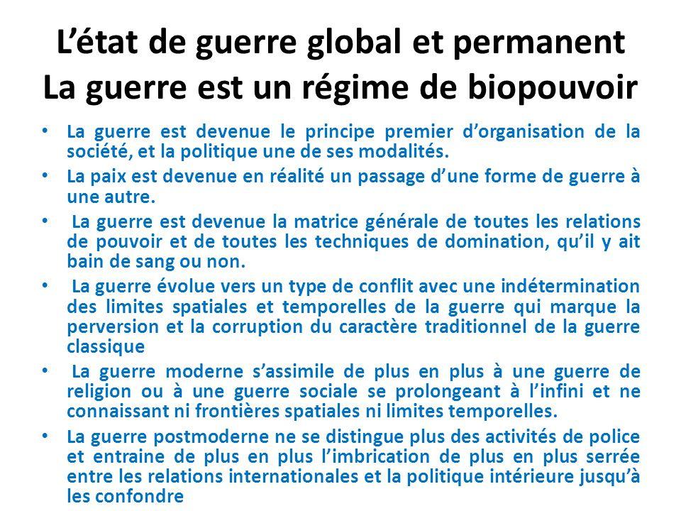 Létat de guerre global et permanent La guerre est un régime de biopouvoir La guerre est devenue le principe premier dorganisation de la société, et la politique une de ses modalités.