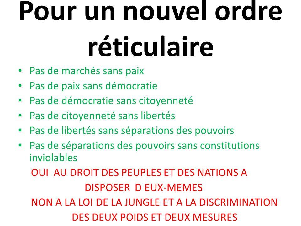 Pour un nouvel ordre réticulaire Pas de marchés sans paix Pas de paix sans démocratie Pas de démocratie sans citoyenneté Pas de citoyenneté sans liber