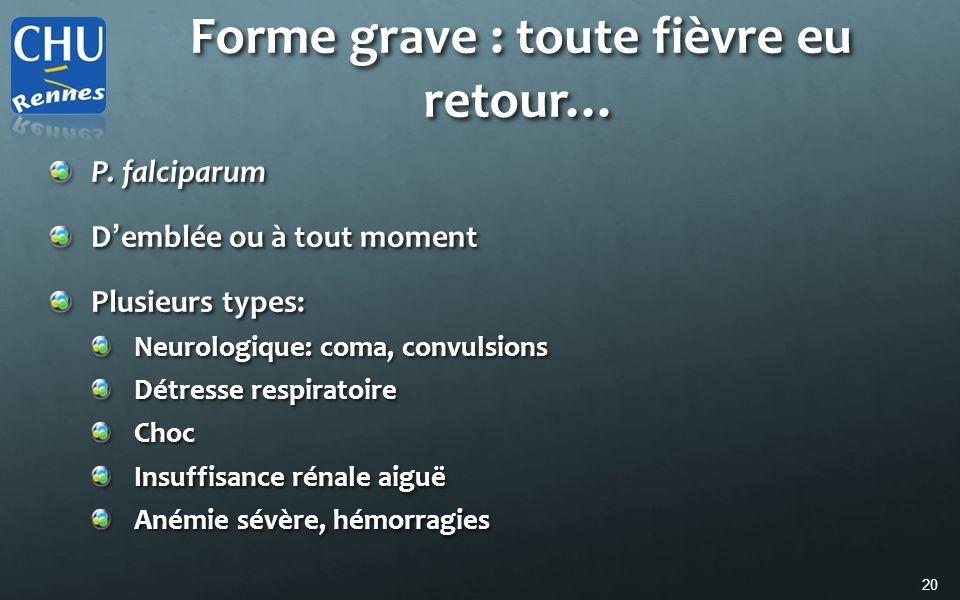 20 Forme grave : toute fièvre eu retour… P. falciparum D emblée ou à tout moment Plusieurs types: Neurologique: coma, convulsions Détresse respiratoir