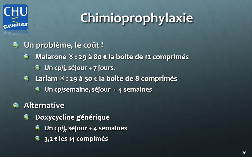 36 Chimioprophylaxie Un problème, le coût ! Malarone ® : 29 à 80 la boite de 12 comprimés Un cp/j, séjour + 7 jours. Lariam ® : 29 à 50 la boite de 8