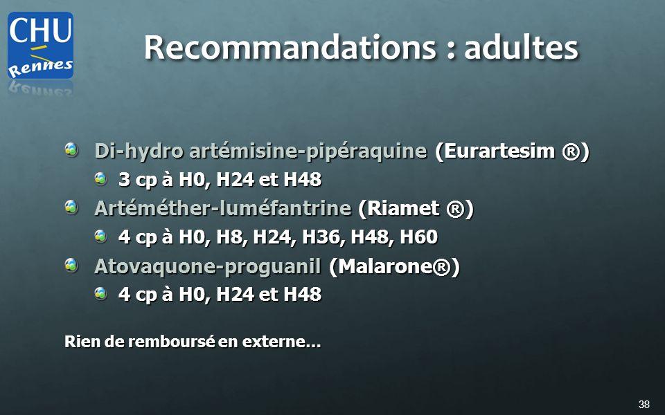 38 Di-hydro artémisine-pipéraquine (Eurartesim ®) 3 cp à H0, H24 et H48 Artéméther-luméfantrine (Riamet ®) 4 cp à H0, H8, H24, H36, H48, H60 Atovaquon