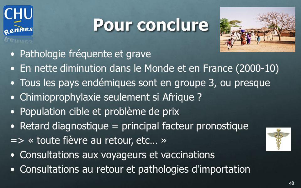 40 Pathologie fréquente et grave En nette diminution dans le Monde et en France (2000-10) Tous les pays endémiques sont en groupe 3, ou presque Chimio