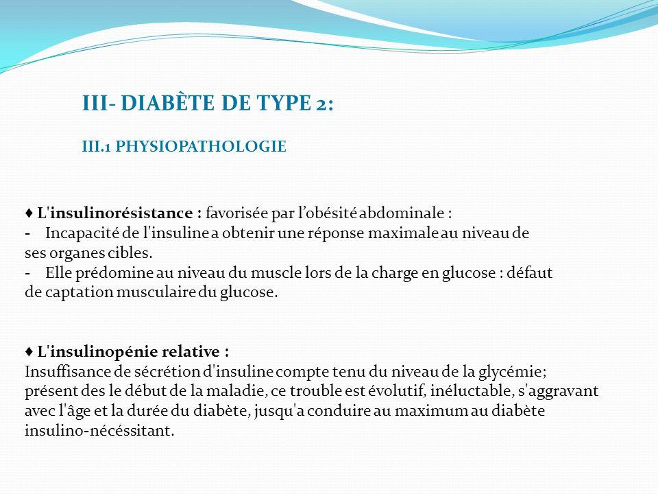 III- DIABÈTE DE TYPE 2: III.1 PHYSIOPATHOLOGIE L'insulinorésistance : favorisée par lobésité abdominale : -Incapacité de l'insuline a obtenir une répo