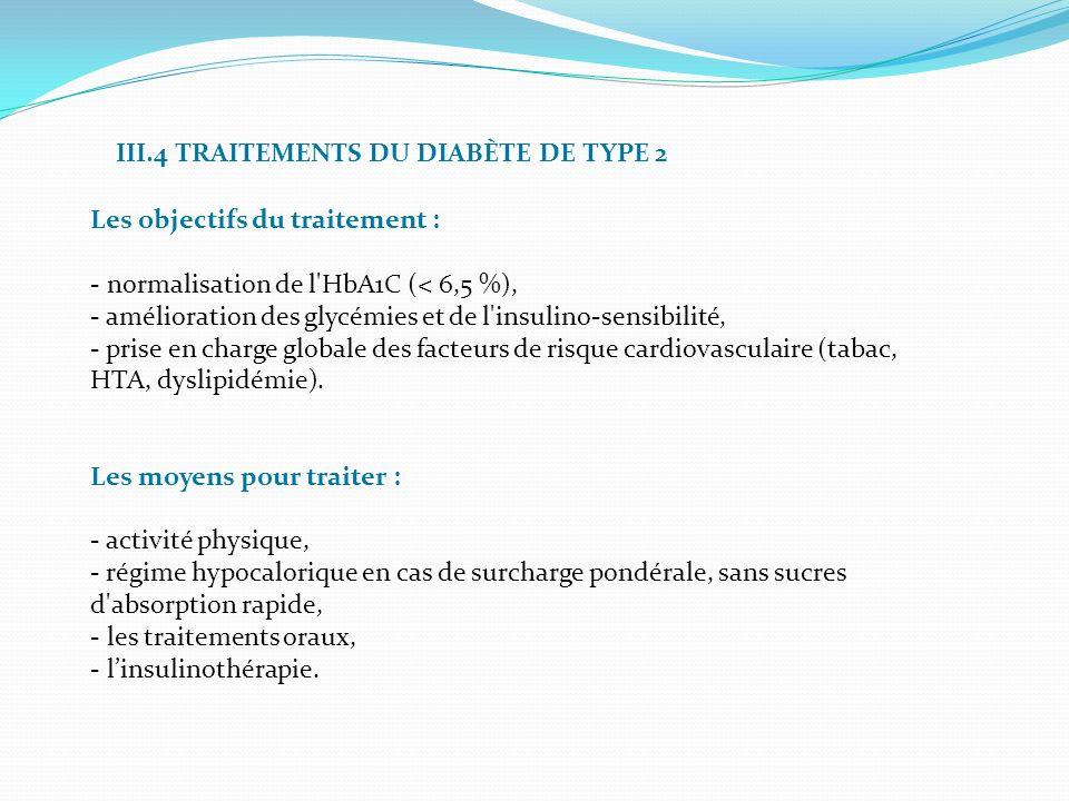 III.4 TRAITEMENTS DU DIABÈTE DE TYPE 2 Les objectifs du traitement : - normalisation de l'HbA1C (< 6,5 %), - amélioration des glycémies et de l'insuli