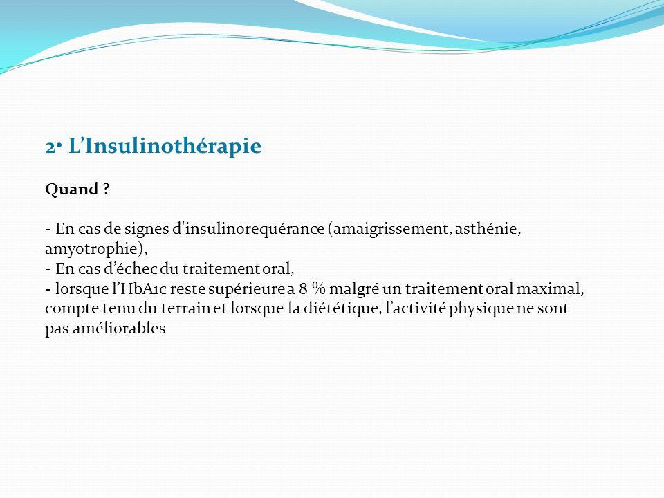 2 LInsulinothérapie Quand ? - En cas de signes d'insulinorequérance (amaigrissement, asthénie, amyotrophie), - En cas déchec du traitement oral, - lor