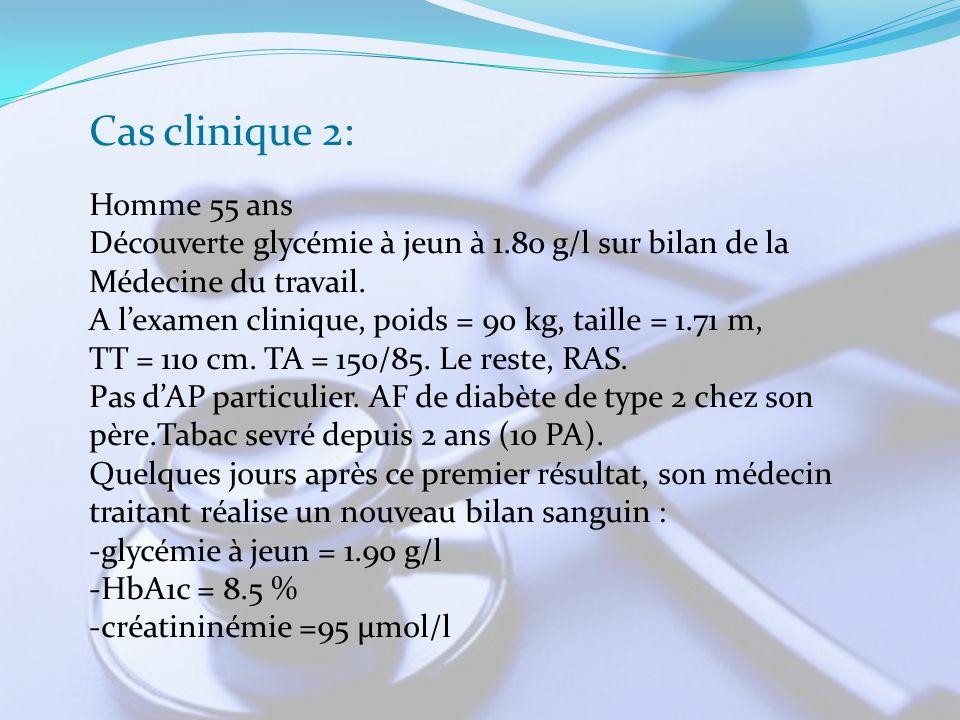 Cas clinique 2: Homme 55 ans Découverte glycémie à jeun à 1.80 g/l sur bilan de la Médecine du travail. A lexamen clinique, poids = 90 kg, taille = 1.