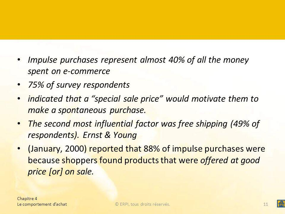 Impulse purchases represent almost 40% of all the money spent on e-commerce 75% of survey respondents indicated that a special sale price would motiva