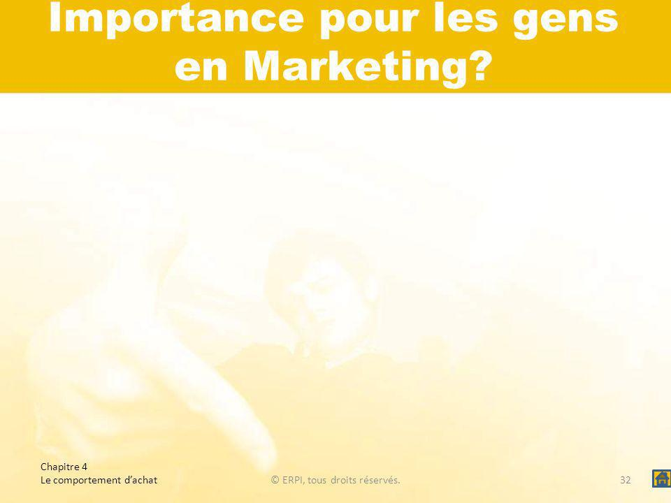 Importance pour les gens en Marketing.