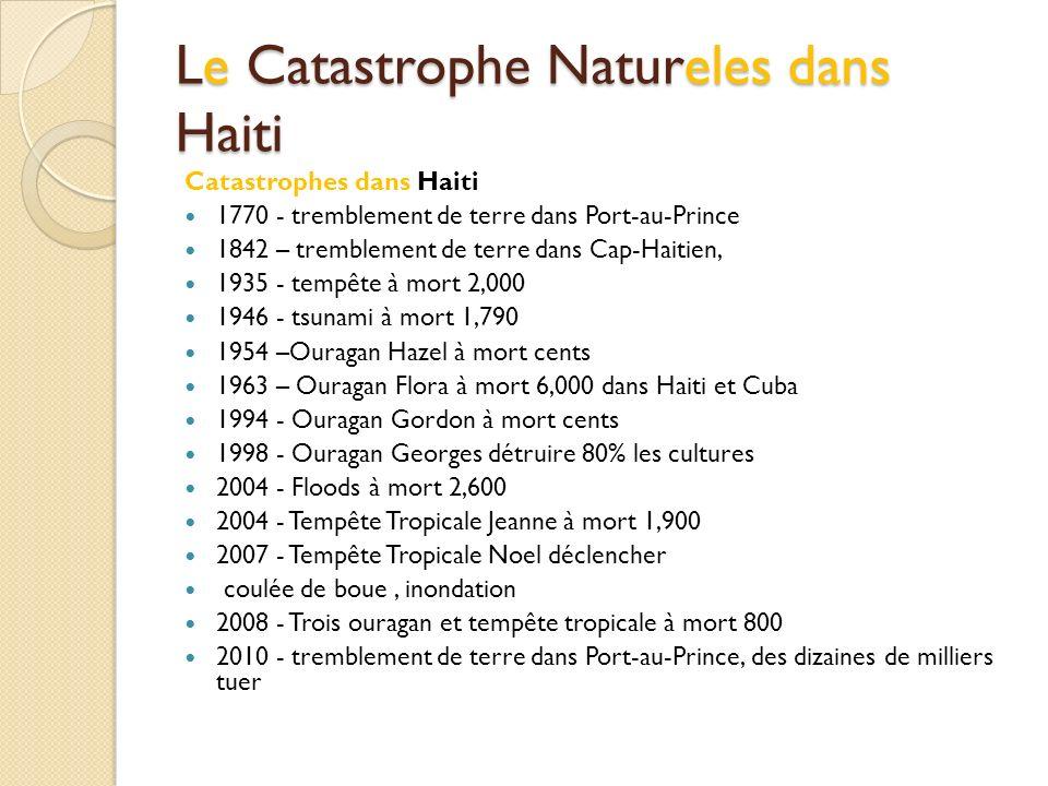 Le Catastrophe Natureles dans Haiti Catastrophes dans Haiti 1770 - tremblement de terre dans Port-au-Prince 1842 – tremblement de terre dans Cap-Haiti