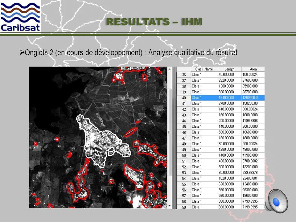 Les traitements sont intégrés dans une interface homme machine (IHM) possédant deux onglets Onglets 1 : Visualisation du résultat par commune RESULTATS – IHM