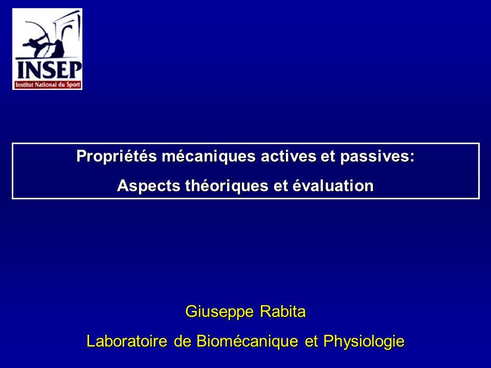 Giuseppe Rabita Laboratoire de Biomécanique et Physiologie Propriétés mécaniques actives et passives: Aspects théoriques et évaluation