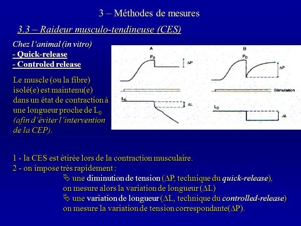3 – Méthodes de mesures Le muscle (ou la fibre) isolé(e) est maintenu(e) dans un état de contraction à une longueur proche de L 0 (afin déviter lintervention de la CEP).