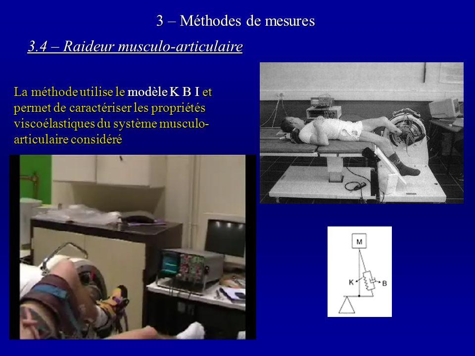 3 – Méthodes de mesures La méthode utilise le modèle K B I et permet de caractériser les propriétés viscoélastiques du système musculo- articulaire considéré 3.4 – Raideur musculo-articulaire Perturbations sinusoïdales