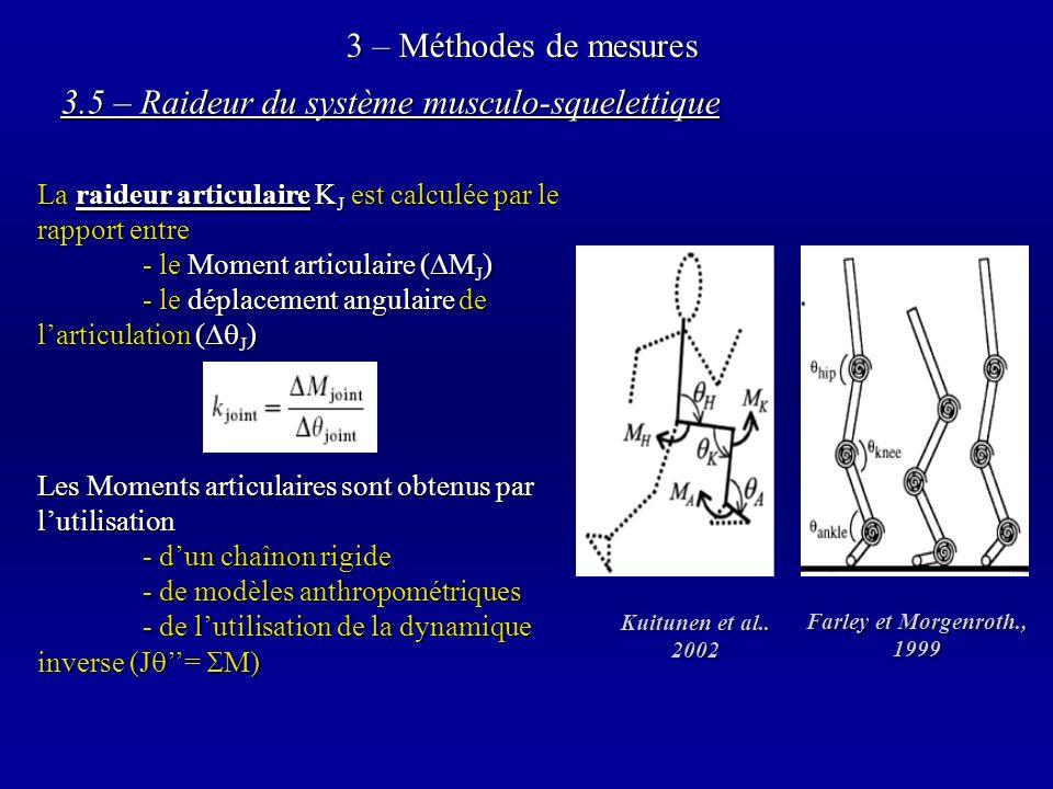 3 – Méthodes de mesures 3.5 – Raideur du système musculo-squelettique La raideur articulaire K J est calculée par le rapport entre - le Moment articulaire ( M J ) - le déplacement angulaire de larticulation ( J ) Les Moments articulaires sont obtenus par lutilisation - dun chaînon rigide - de modèles anthropométriques - de lutilisation de la dynamique inverse (J = M) Farley et Morgenroth., 1999 Kuitunen et al..