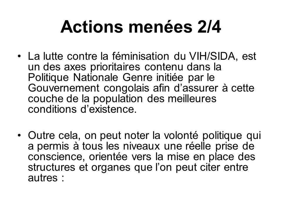 Actions menées 2/4 La lutte contre la féminisation du VIH/SIDA, est un des axes prioritaires contenu dans la Politique Nationale Genre initiée par le