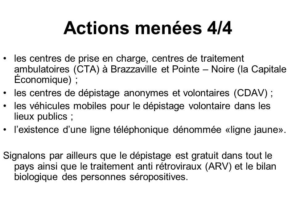 Actions menées 4/4 les centres de prise en charge, centres de traitement ambulatoires (CTA) à Brazzaville et Pointe – Noire (la Capitale Économique) ;