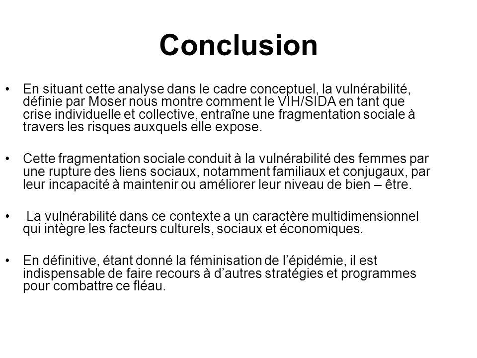Conclusion En situant cette analyse dans le cadre conceptuel, la vulnérabilité, définie par Moser nous montre comment le VIH/SIDA en tant que crise in