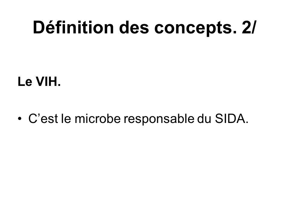 Définition des concepts. 2/ Le VIH. Cest le microbe responsable du SIDA.