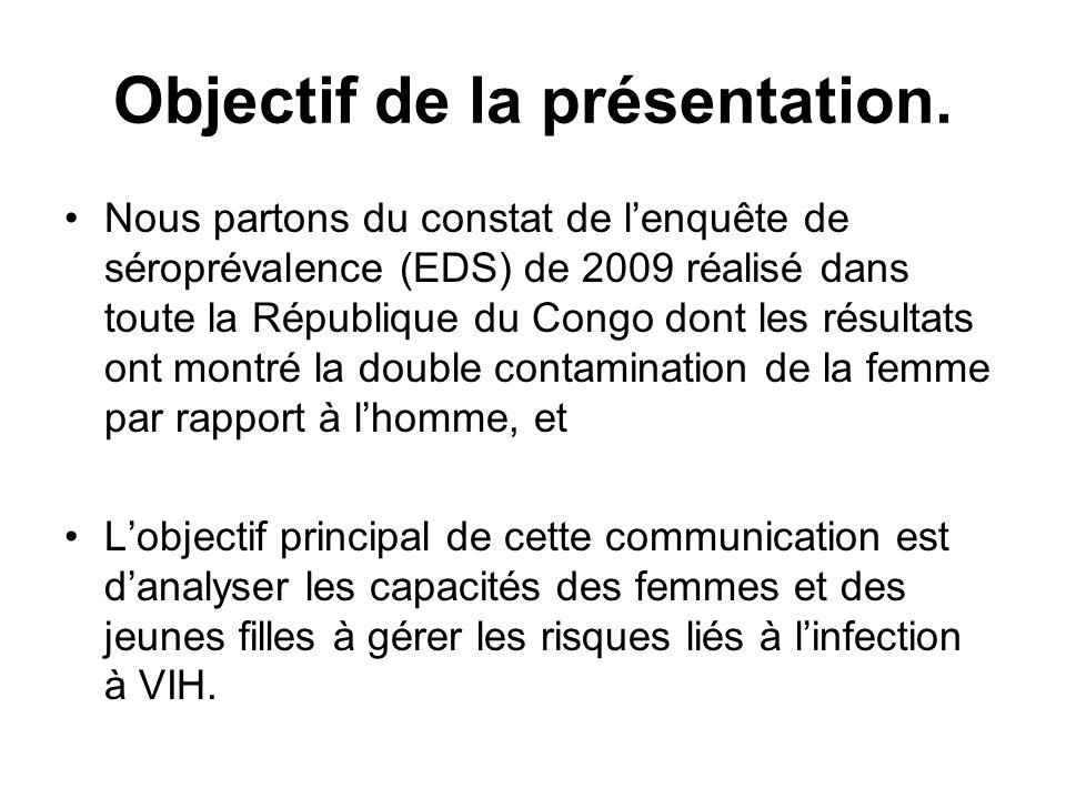 Objectif de la présentation. Nous partons du constat de lenquête de séroprévalence (EDS) de 2009 réalisé dans toute la République du Congo dont les ré