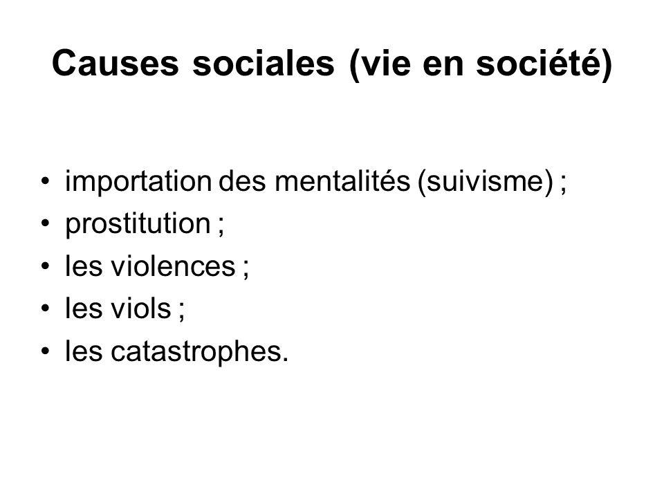 Causes sociales (vie en société) importation des mentalités (suivisme) ; prostitution ; les violences ; les viols ; les catastrophes.