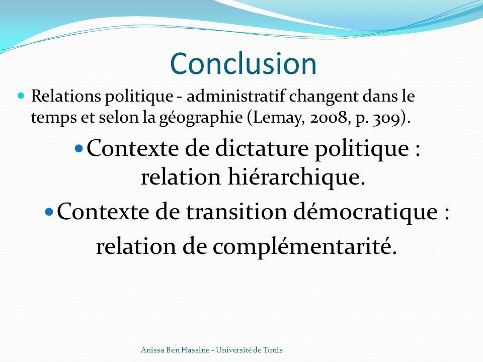 Conclusion Relations politique - administratif changent dans le temps et selon la géographie (Lemay, 2008, p. 309). Contexte de dictature politique :