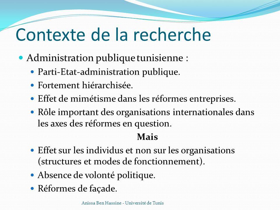 Contexte de la recherche Administration publique tunisienne : Parti-Etat-administration publique. Fortement hiérarchisée. Effet de mimétisme dans les