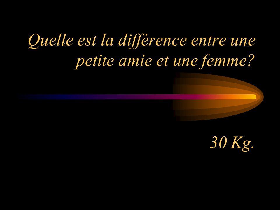 Quelle est la différence entre une petite amie et une femme? 30 Kg.