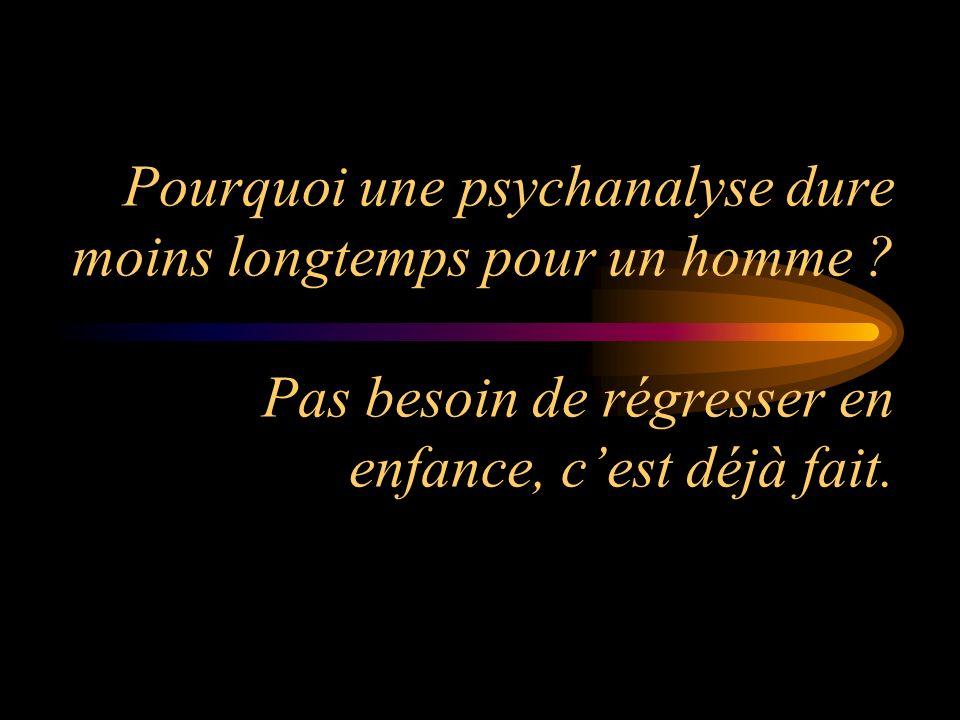 Pourquoi une psychanalyse dure moins longtemps pour un homme .