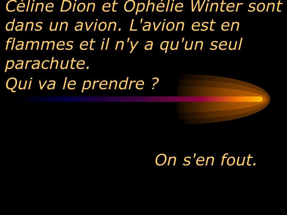 Céline Dion et Ophélie Winter sont dans un avion. L'avion est en flammes et il n'y a qu'un seul parachute. Qui va le prendre ? On s'en fout.