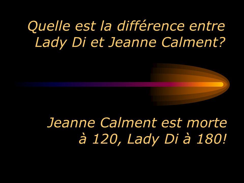 Quelle est la différence entre Lady Di et Jeanne Calment? Jeanne Calment est morte à 120, Lady Di à 180!
